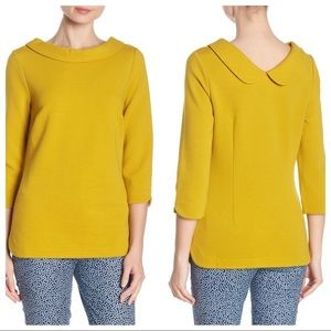 Boden | Yellow Sarah Stretch Ponte 3/4 Sleeve Top